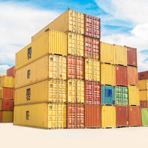 Brightly colored shipping containers stacked in a ship yard